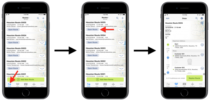Adding Addresses to Planned Routes from the Interactive Map on Route4Me's iPhone Route Planner