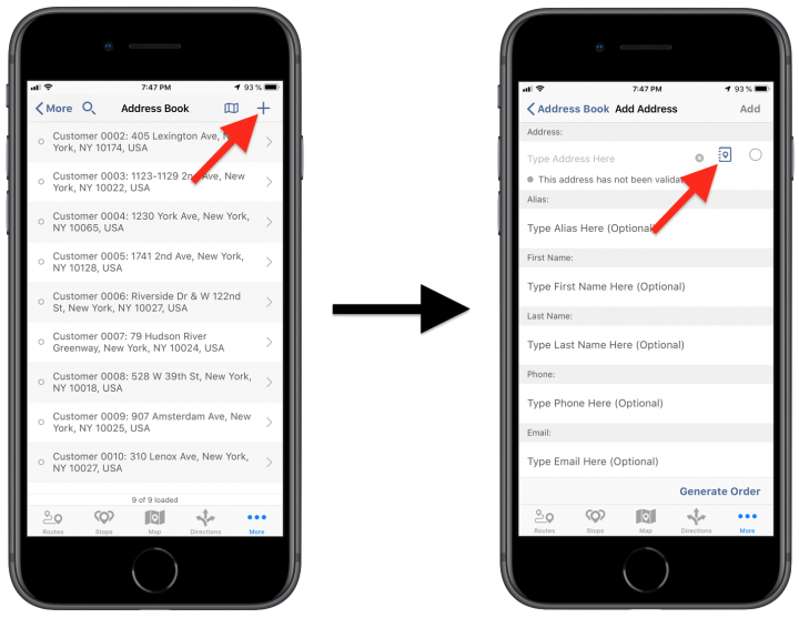 Adding Addresses from the Contacts on Your iPhone to the Route4Me Synced Address Book