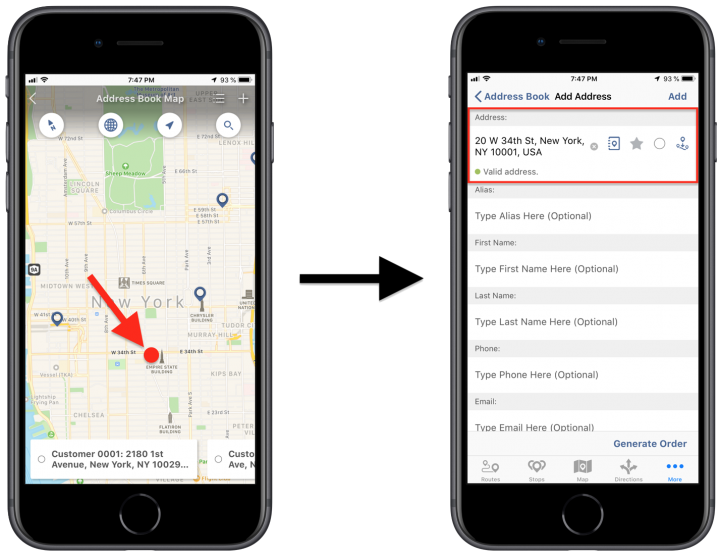 Using the Interactive Map for Adding Addresses to Your Route4Me Address Book on an iPhone