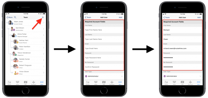 Creating New Users/Team Member Accounts Using the Route4Me iPhone App