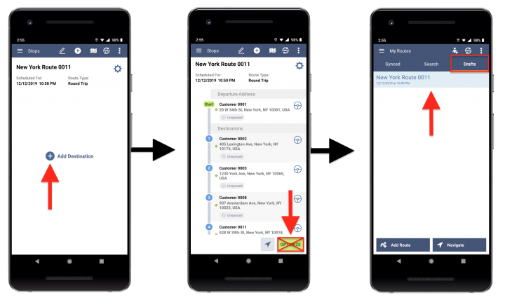 Draft Routes – Creating and Managing Draft Routes Using the Route4Me Android App