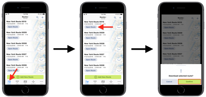 iPhone Route Directions – Viewing Turn-By-Turn Directions for the Current Route Using the Route4Me iPhone App