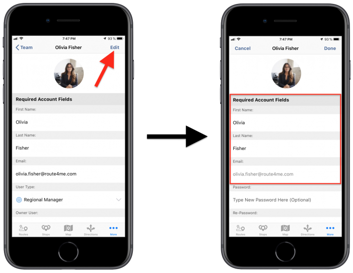 Editing Existing Users/Team Member Accounts Using the Route4Me iPhone App