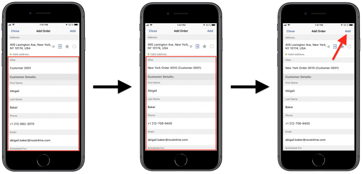 Generating Orders from Route Stops/Addresses Using Route4Me's iPhone Route Planner