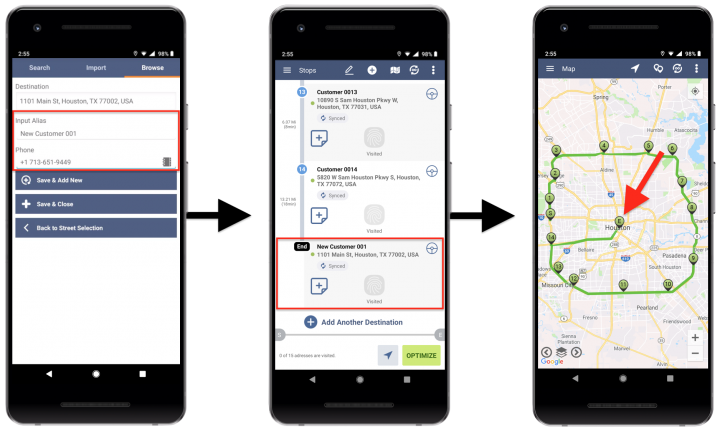 Browse by ZIP Code - Adding Addresses to Planned Routes with the Rapid Entry System Using Route4Me's Android Route Planner