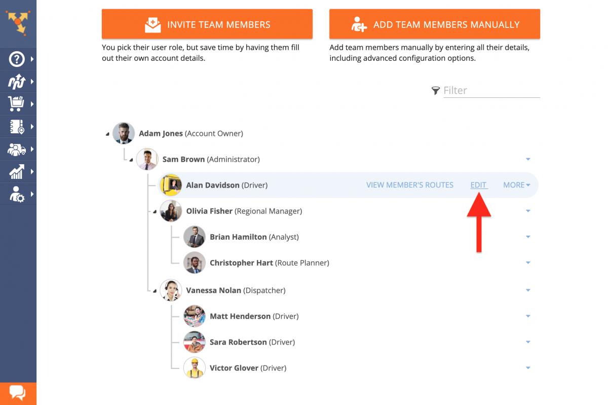 Editing Users (Team Member Accounts) from the Route4Me Web Platform