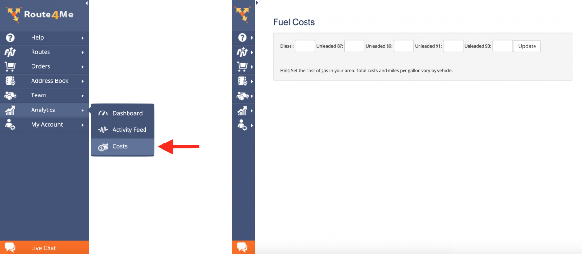 Route4Me Fuel Costs Analytics