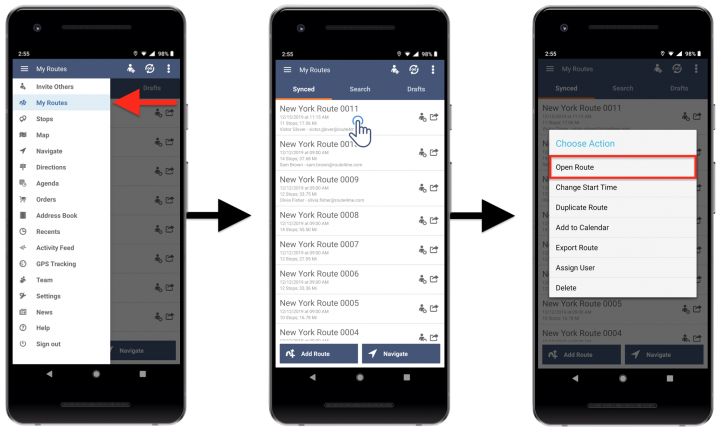 Changing the Sequence of Stops in a Planned Route (Edit Route) - Route4Me's Android Route Planner