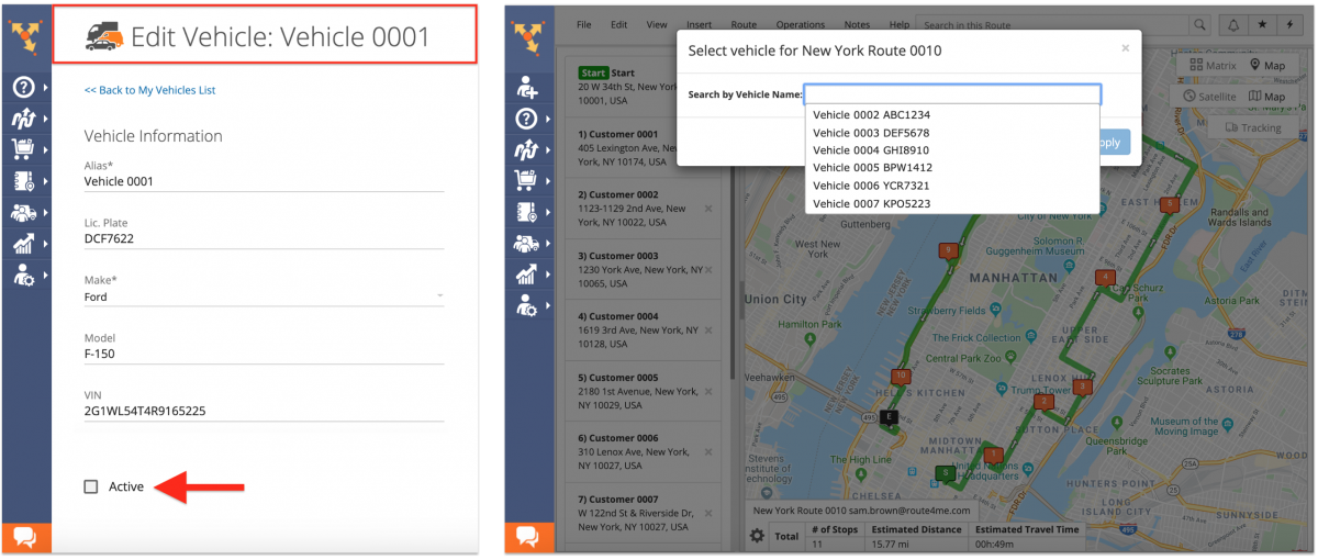 Setting Vehicles to Active and Hidden for Route Assignment on the Route4Me Web Platform