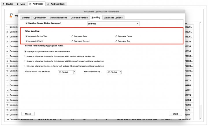 Address Bundling - Planning Routes with Location Bundling by Defined Parameters Using the Route4Me Enterprise Architect