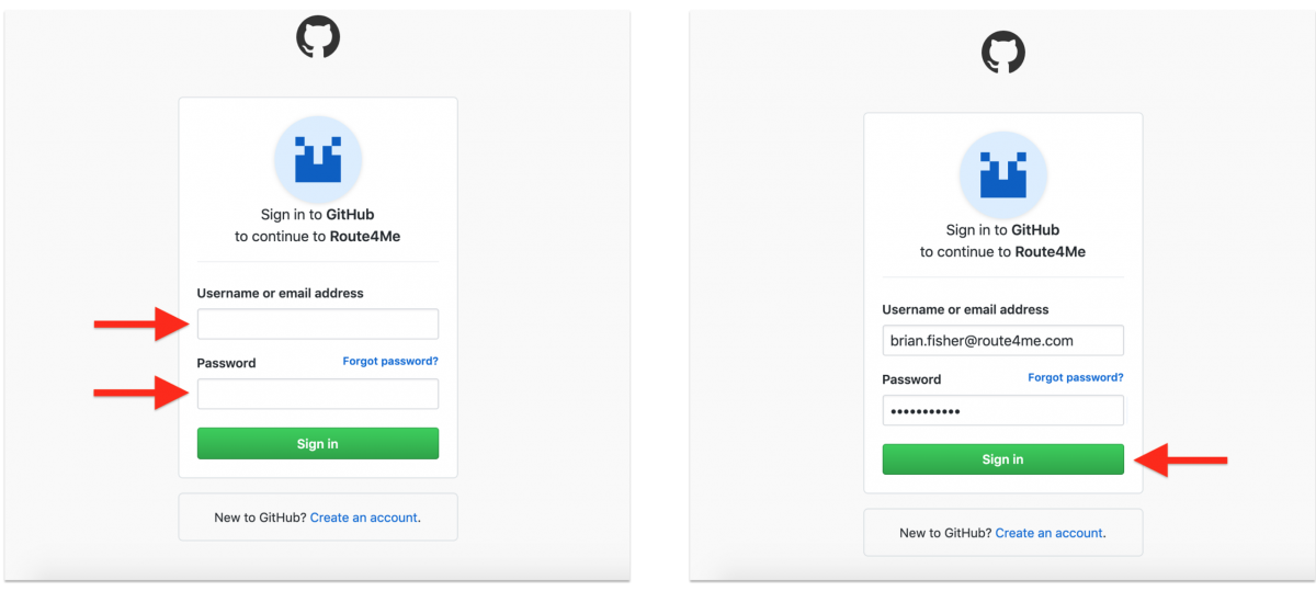 GitHub Authentication – Registering a New Route4Me Web Account with Your GitHub Account and Signing In withGitHub