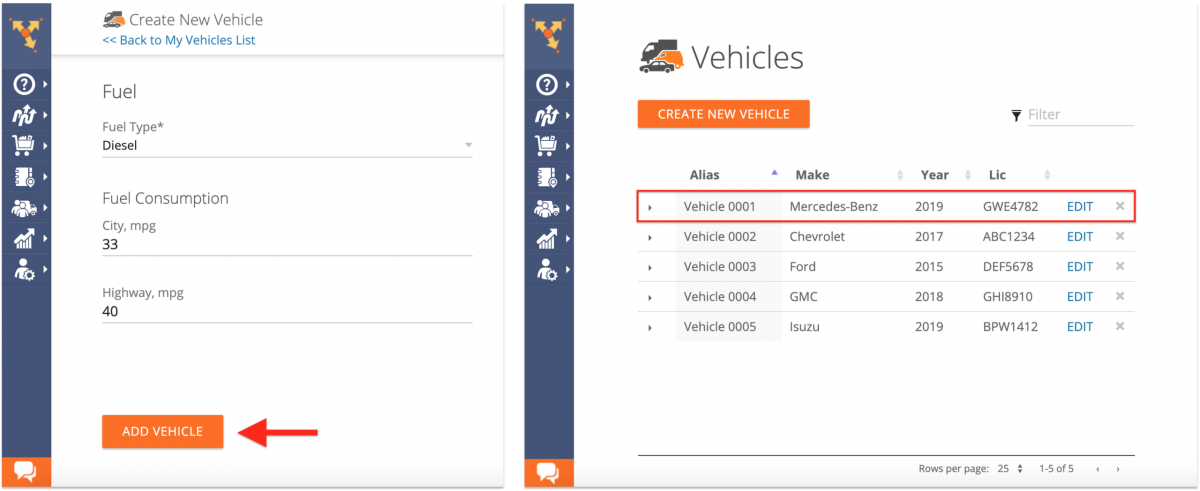 Creating New Fleet Vehicles on the Route4Me Web Platform