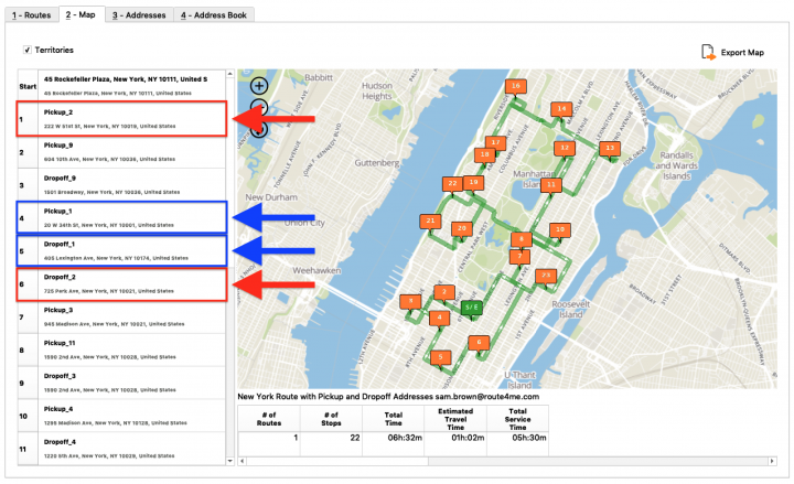 Pickup and Drop-Off Route Planning (Without Time Windows) - Planning Routes with Pickup and Drop-Off Address Pairs Using the Route4Me Enterprise Architect