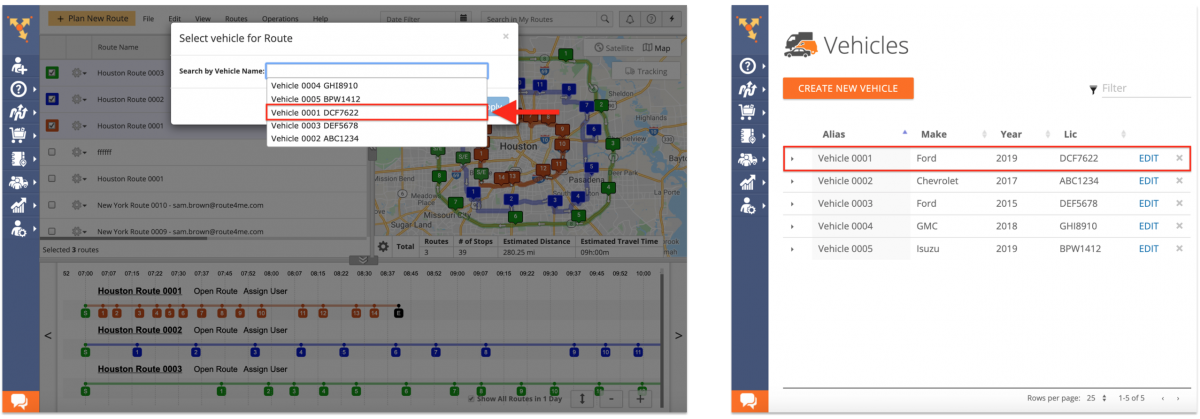 Assigning Fleet Vehicles to Planned Routes (Route Editor, Routes List, Routes Map) on the Route4Me Web Platform