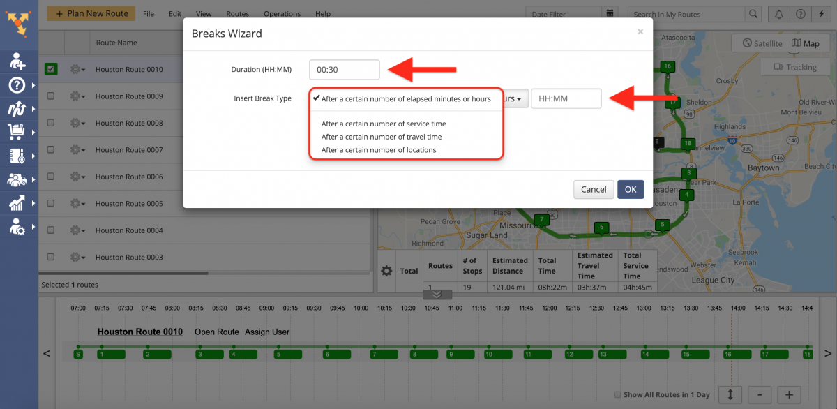 Driver Breaks - Insert Driver Breaks Into Optimized Routes on the Route4Me Web Platform