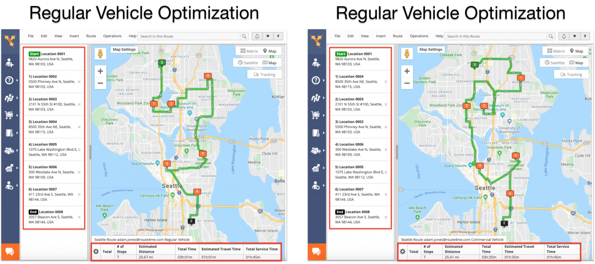 Commercial Vehicle Routing vs Regular Vehicle Routing - Route4Me Web Platform