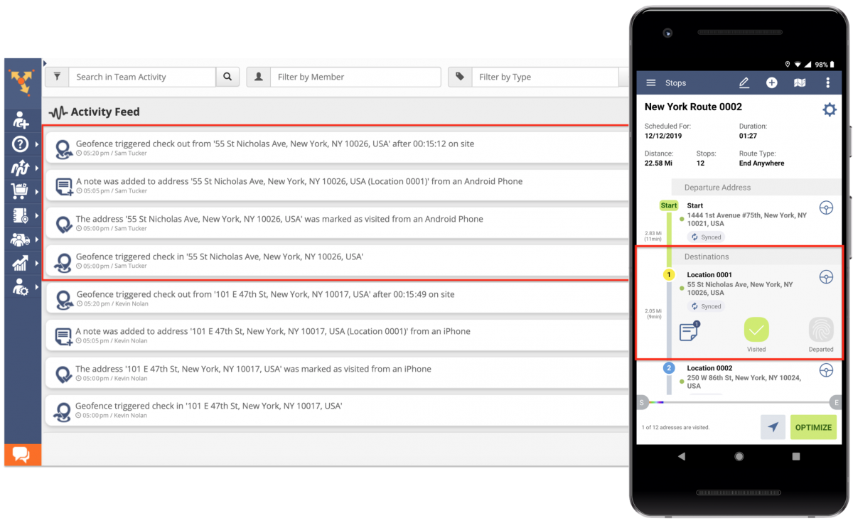 Route4Me Activity Feed - Using the Activity Stream for Auditing Your Team's Activities