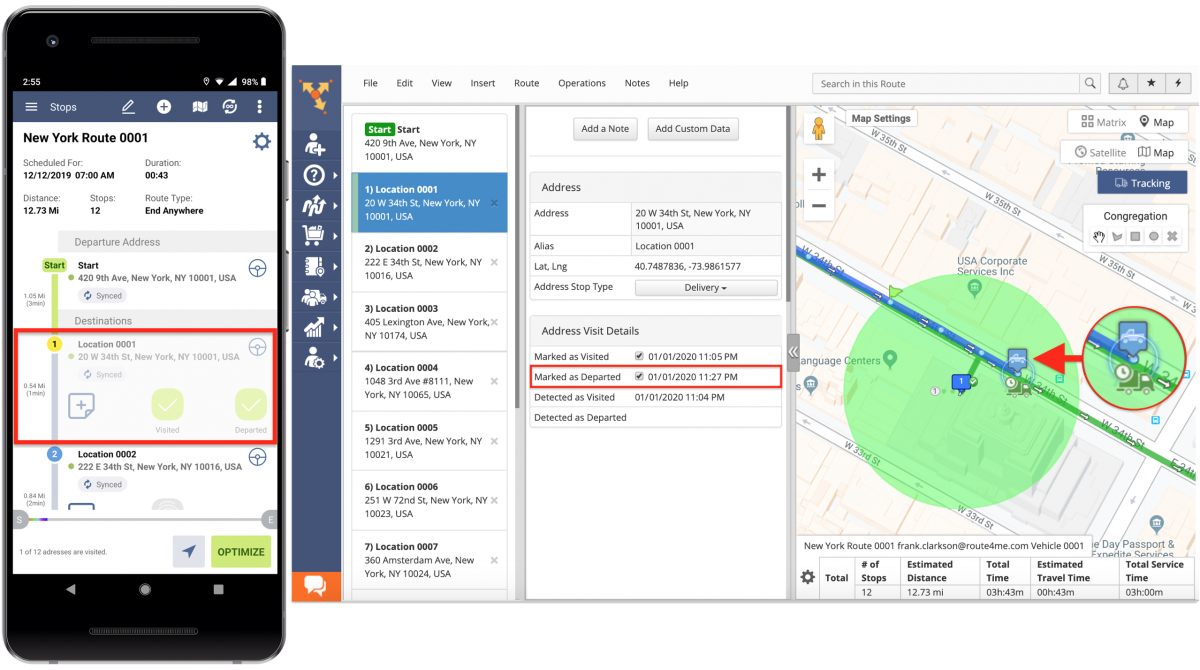 The Difference Between Geofence Detected and Manually Marked Visitation and Departure Timestamps – Route4Me Geofencing