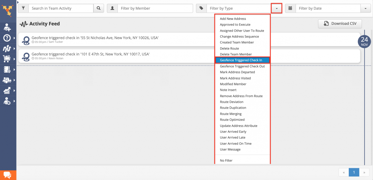 Route4Me Activity Stream - Exporting Audit Files with Your Team Activity History from the Activity Feed