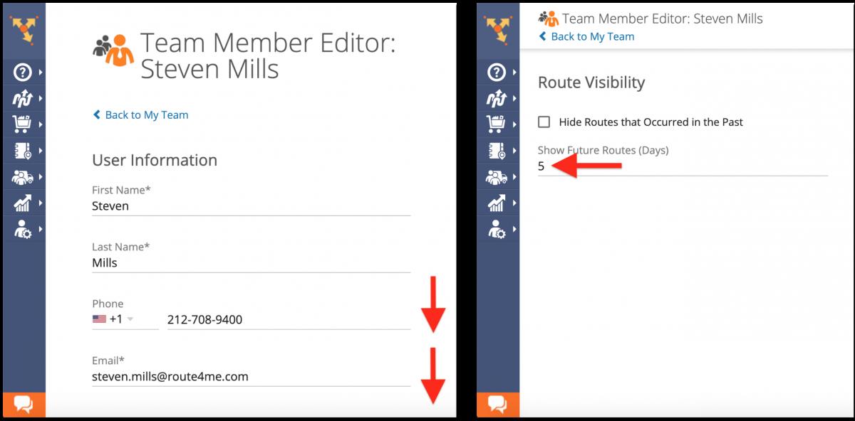 Adjusting Future Routes Visibility - Route4Me Team Management
