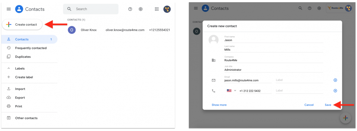 Google Contacts Integration With Route4Me via Zapier - Synchronizing Google Contacts With the Route4Me Synced Address Book