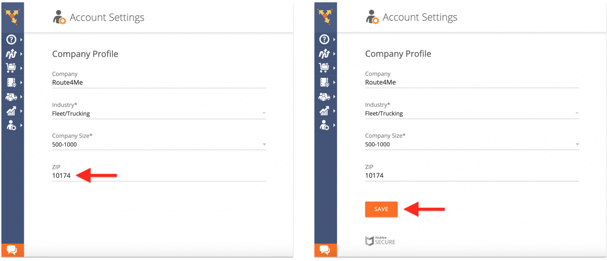 Company Profile - Viewing and Updating Your Route4Me Web Account Company Profile