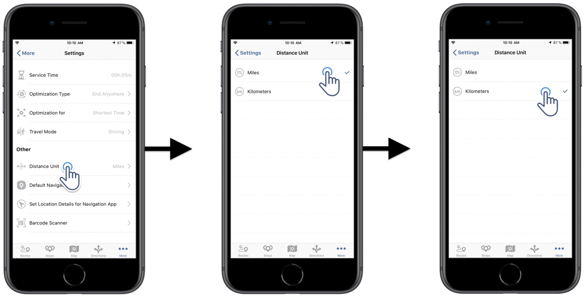 Distance Units - Adjusting the Distance Units Settings of Route4Me's iOS Route Planner on Your iPhone