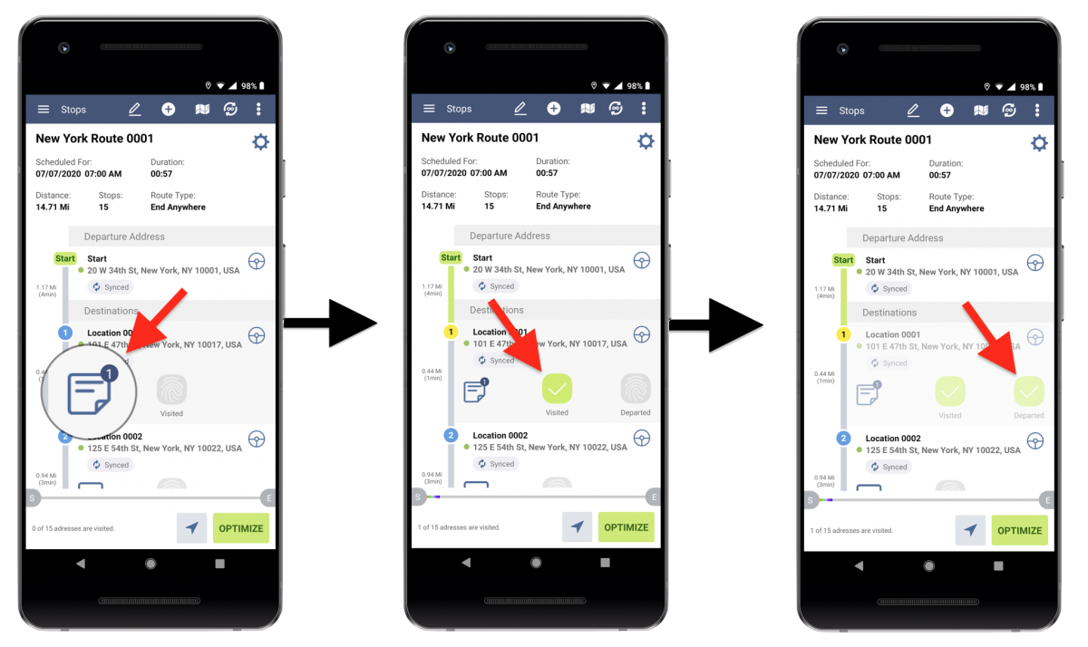 Mandatory Image Capture - Allowing to Mark Route Stops as Visited and Departed Only After Adding an Image or a Photo (Route4Me's Android Route Planner)