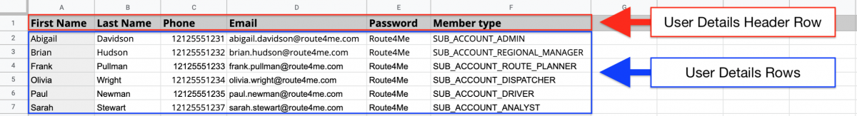 Bulk Member Import - Uploading Multiple Users into the Route4Me Team Editor