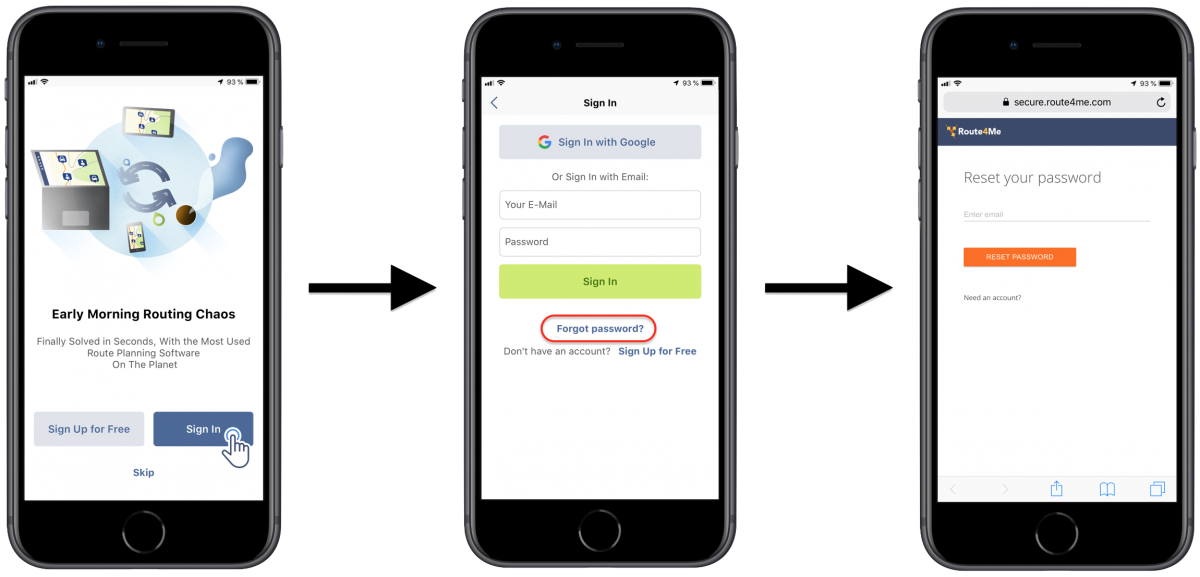 iOS PasswordReset – Restoring the Password to Your Route4Me Account on Route4Me's iPhone Route Planner