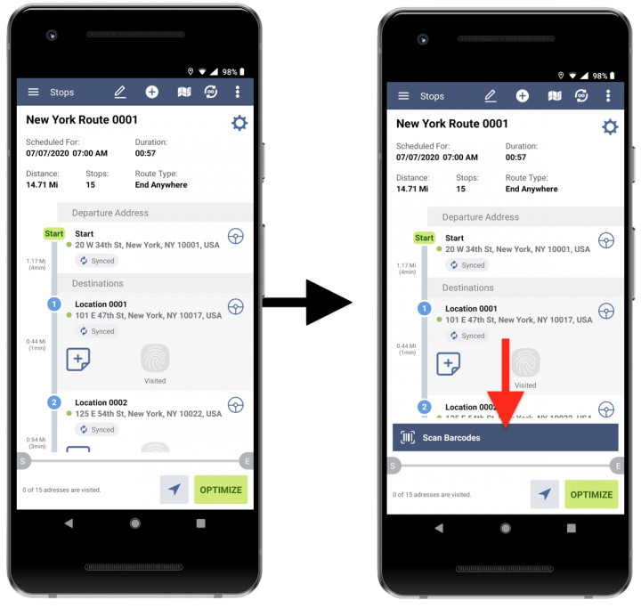 Enabling the Mandatory Barcode Reconciliation for Route4Me's Android Route Planner