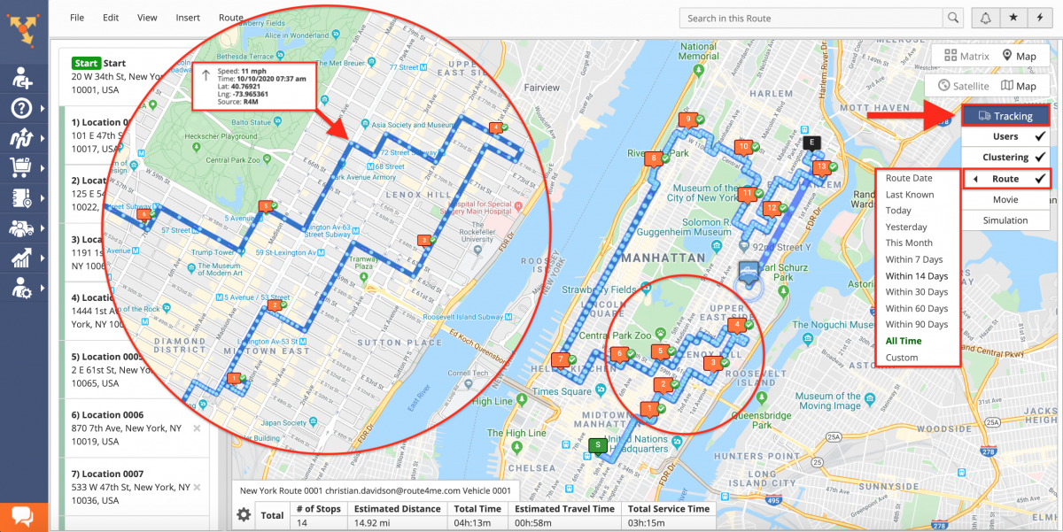 Tracking History Movie - Viewing the Tracking History Movie of Your Team Members on the Interactive Map in the Route Editor