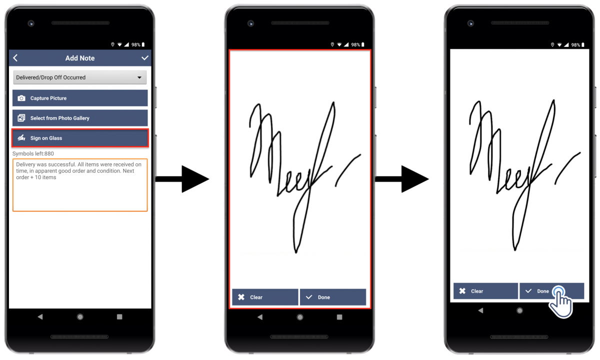 Mandatory Signature Capture - Allowing to Mark Route Stops as Visited and Departed Only After Capturing and Attaching a Signature (Route4Me's Android Route Planner)