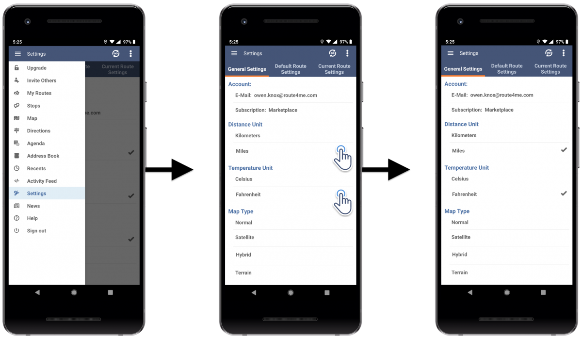 Distance and Temperature Units - Adjusting the Temperature and Distance Units Settings of Route4Me's Android Route Planner on Your Android Device