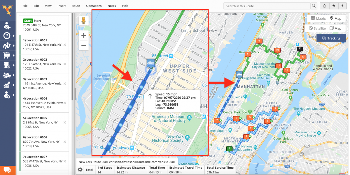 Near Real-Time Tracking - Tracking Team Members on the Interactive Map in Near Real-Time (Route Editor)