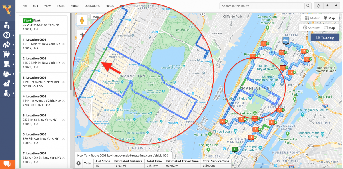 Route Deviation Detection -Detecting Route Deviations Using Route4Me's Team Tracking History on the Interactive Map