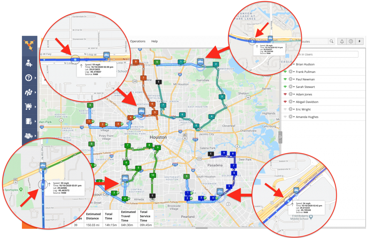 Near Real-Time Tracking – Tracking Multiple Team Members on the Interactive Map in Near Real-Time (Routes Map)