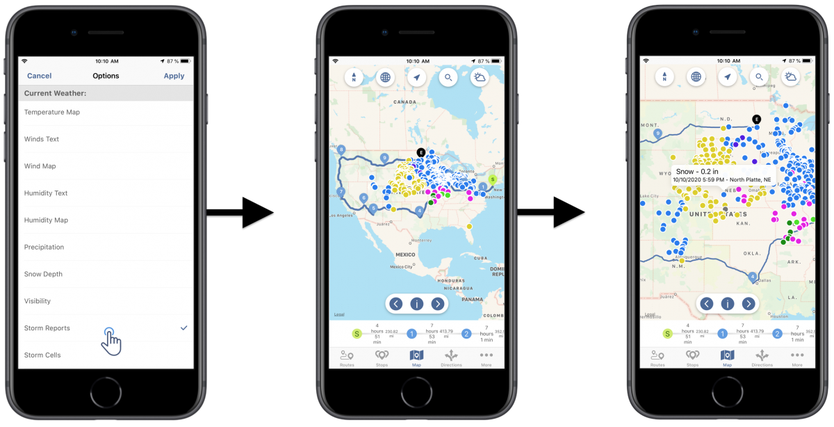 iOS Weather Map Layers - Viewing Your Route4Me Routes on the Map with Weather Overlays Using Route4Me's iOS Route Planner