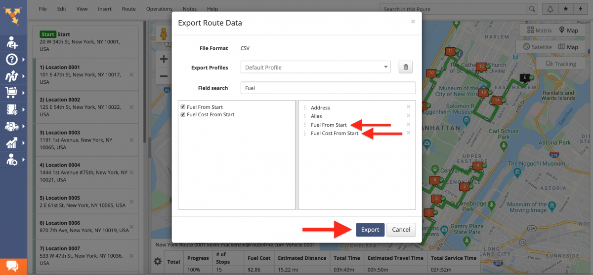 Fuel Consumption and Fuel Costs Route Data Export