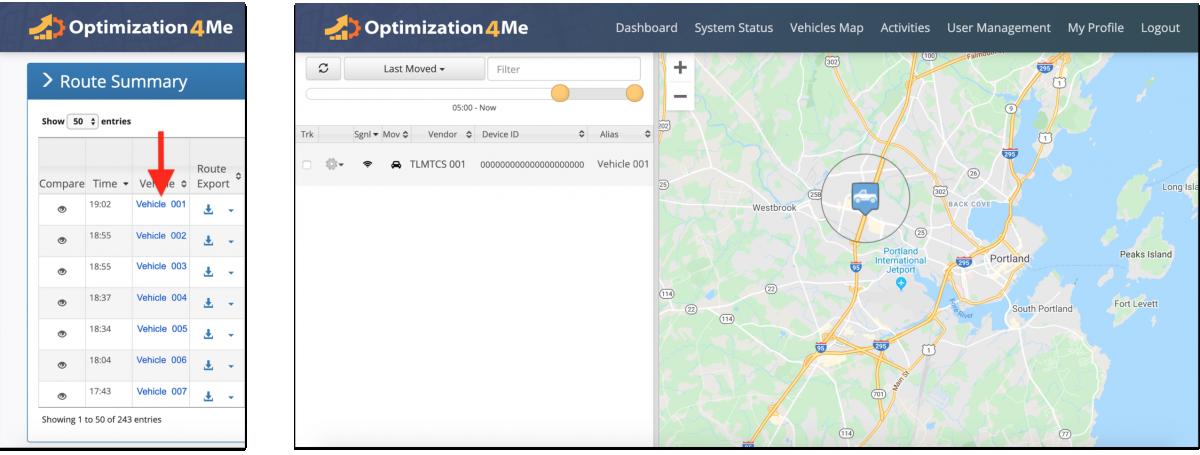 Participant Route Summary - Viewing the Report Route Summary of a Participant Associated with the Affiliate's OA Account (Route Comparison)