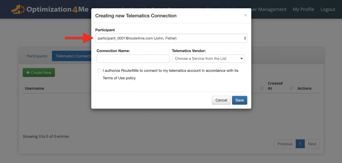 Create a New Telematics Connection - Creating New Telematics Connections for Participants Associated with the Affiliate's OA Account
