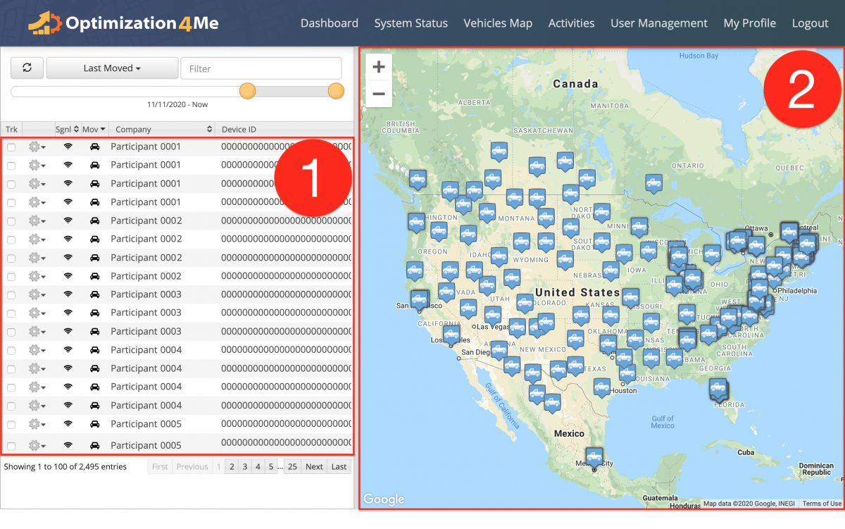 Vehicles Map - Viewing All Vehicles of All Participants Associated with the Affiliate's OA Account