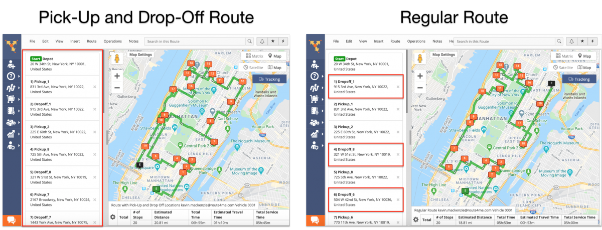 Pick-Up and Drop-Off Route Planning – Planning Routes with Pick-Up and Drop-Off Address Pairs Using the Route4Me Web Platform (Without Time Windows)