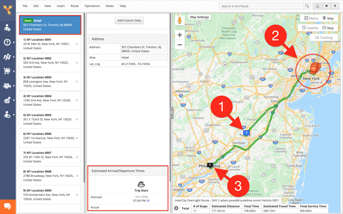InterCity Overnight Routing - Planning and OptimizingOvernight Routes with a Single Depot on the Route4Me Web Platform