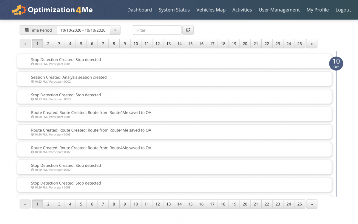 OA System Activities - Viewing the Operational Assessment Activity Feed of the Affiliate's OA Account
