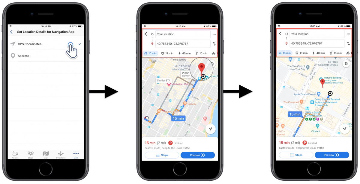 iOS Navigation Precision - Adjusting the Address and GPS Coordinates Navigation Precision Settings on Your Route4Me iPhone Route Planner