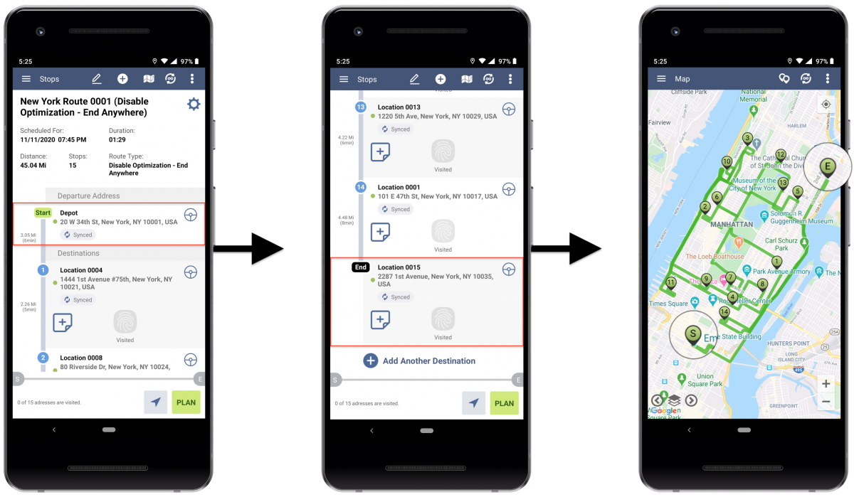 AndroidDisable Optimization (End Anywhere) - Planning Routes With Disabled Optimization (End Anywhere) Using Route4Me's Android Route Planner