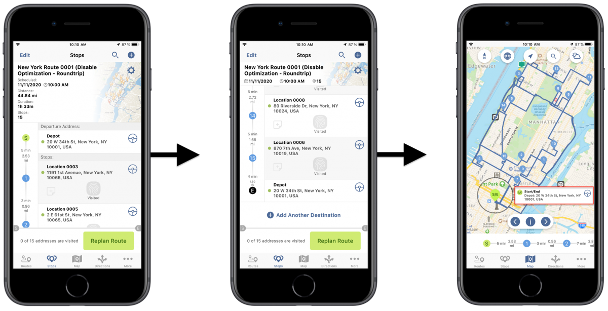 iOSDisable Optimization (Roundtrip) - Planning Routes With Disabled Optimization(Roundtrip) Using Route4Me's iPhone Route Planner