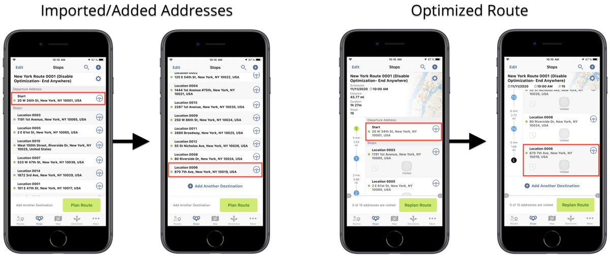 iOS Disable Optimization (End Anywhere) - Planning Routes With Disabled Optimization (End Anywhere) Using Route4Me's iPhone Route Planner