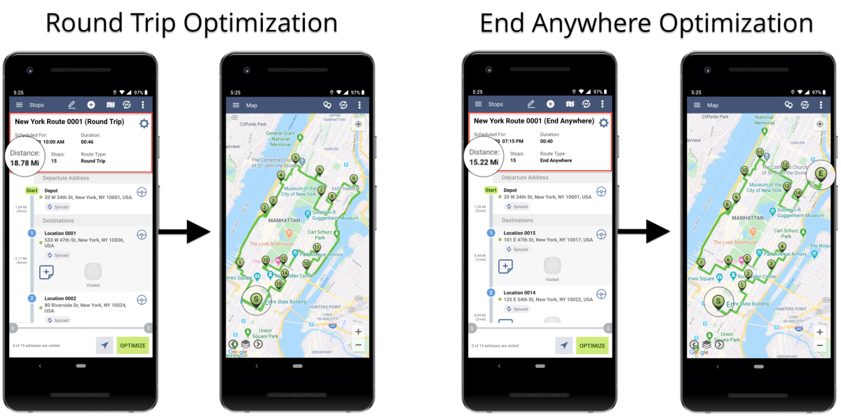 Android Round Trip Optimization - Optimizing Routes With the Round Trip Optimization Using Route4Me's Android Route Planner
